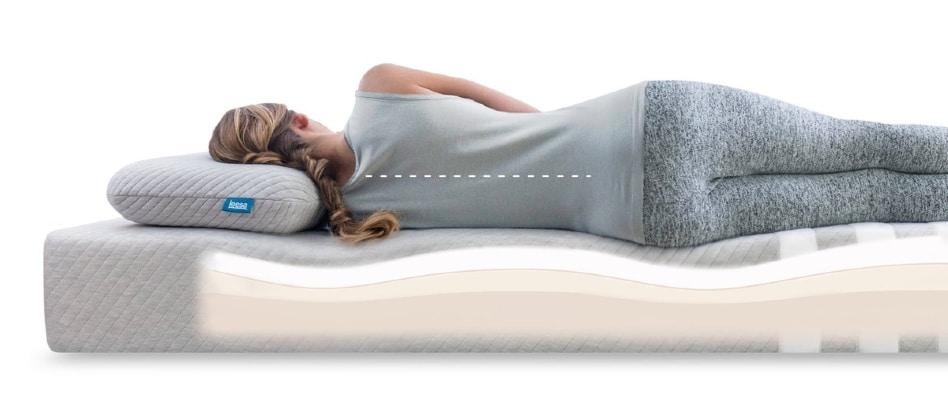 Leesa Hybrid Mattress - sleeper back view - BedTester.com