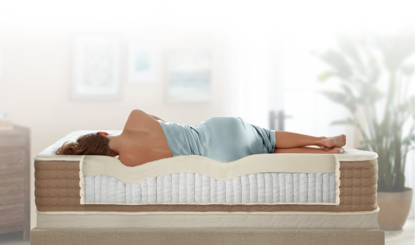 Best mattress for fibromyalgia - Eco Terra Mattress - side view with sleeper - BedTester.com